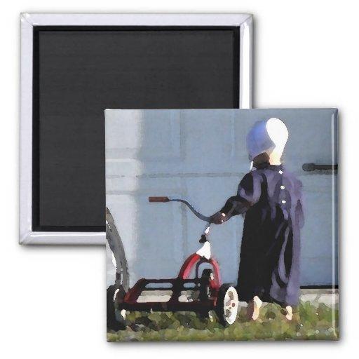 Pequeño chica de Amish con su Trike-Acuarela Iman