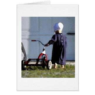 Pequeño chica de Amish con su Trike-Acuarela Tarjeta Pequeña