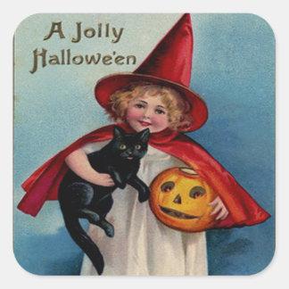 Pequeño chica de la bruja con su gato negro pegatina cuadrada