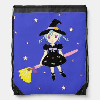Pequeño chica de la bruja del feliz Halloween Mochila