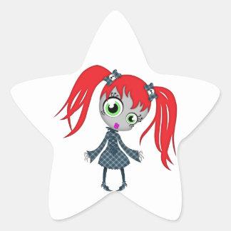 Pequeño chica espeluznante asustadizo calcomania forma de estrella personalizadas