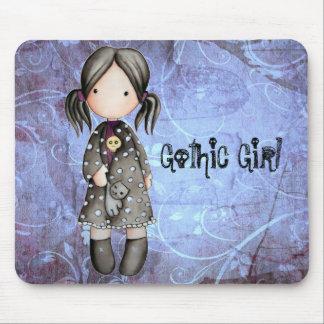 Pequeño chica gótico con el cráneo Mousepad Tapete De Raton