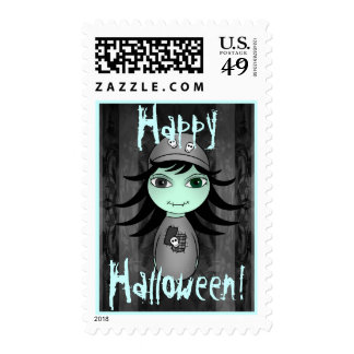 Pequeño chica gótico lindo del zombi para sello