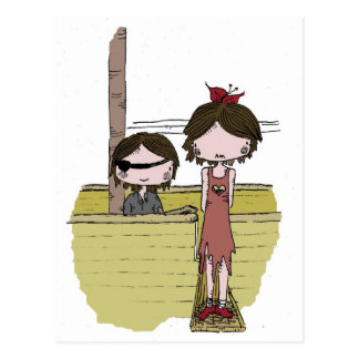 Pequeño chica grande - pirata tarjeta postal