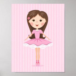 Pequeño chica lindo del dibujo animado de la baila poster