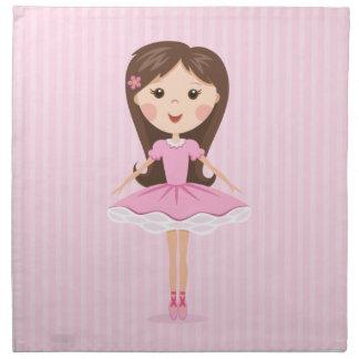 Pequeño chica lindo del dibujo animado de la baila servilleta de papel