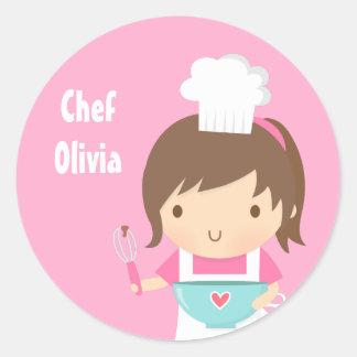 Pequeño chica lindo del panadero del cocinero pegatina redonda