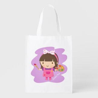Pequeño chica lindo del pintor del artista bolsa reutilizable