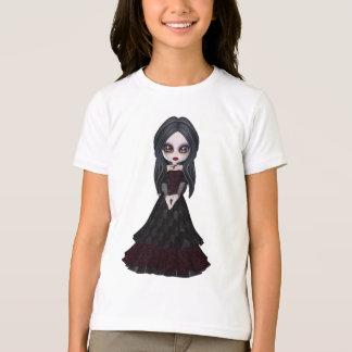 Pequeño chica lindo y espeluznante del gótico playera