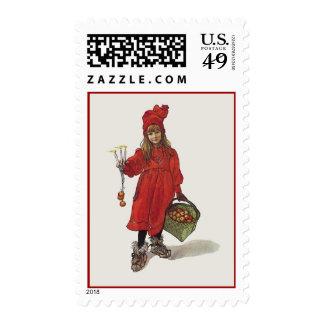 Pequeño chica sueco de Carl Larsson: Brita como Sello Postal