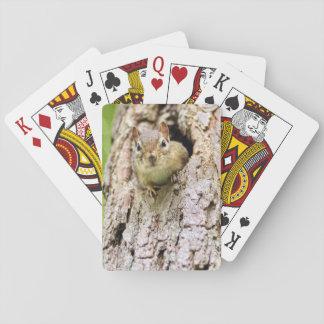 Pequeño Chipmunk lindo en un árbol Cartas De Juego