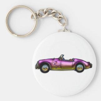 pequeño coche de deportes clásico llavero redondo tipo pin