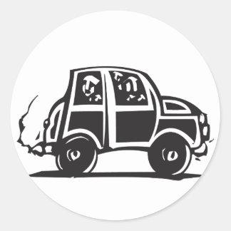 Pequeño coche pegatina redonda