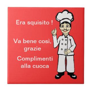 Pequeño cocinero italiano azulejo cuadrado pequeño