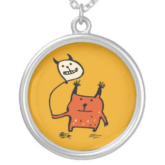 Pequeño collar anaranjado de Halloween del monstru