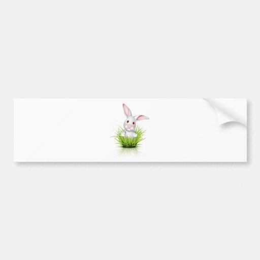 Pequeño conejo blanco etiqueta de parachoque