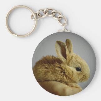 Pequeño conejo lindo a disposición llavero redondo tipo pin