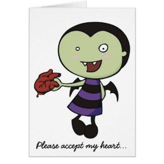 Pequeño corazón del vampiro tarjeta de felicitación