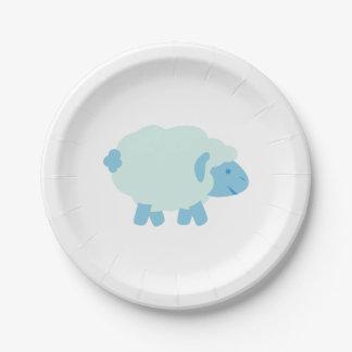 Pequeño cordero azul lindo plato de papel de 7 pulgadas