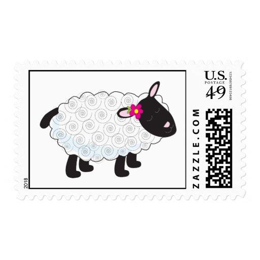 Pequeño cordero timbres postales