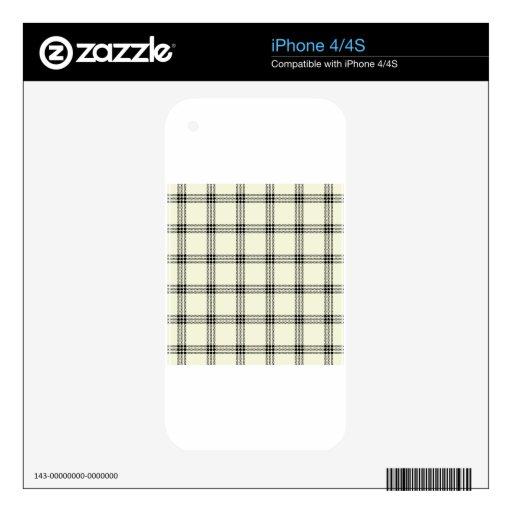 Pequeño cuadrado de cuatro bandas - negro en beige iPhone 4 calcomanías