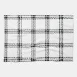 Pequeño cuadrado de cuatro bandas - negro en blanc toalla de cocina