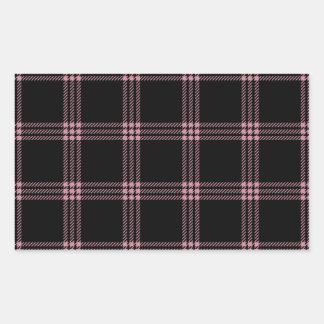 Pequeño cuadrado de cuatro bandas - Puce en negro Pegatina Rectangular