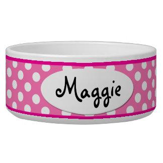 Pequeño cuenco personalizado lunar rosado del perr tazón para perro