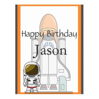 Pequeño cumpleaños del astronauta y de la nave tarjeta postal