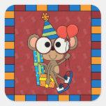 Pequeño cumpleaños del mono calcomanias cuadradas