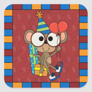 Pequeño cumpleaños del mono pegatina cuadrada
