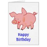 Pequeño cumpleaños lindo del cerdo tarjetas