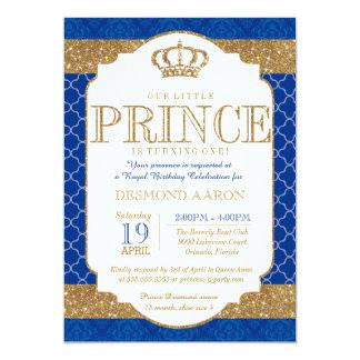 """Pequeño cumpleaños o ducha del oro del príncipe invitación 5"""" x 7"""""""