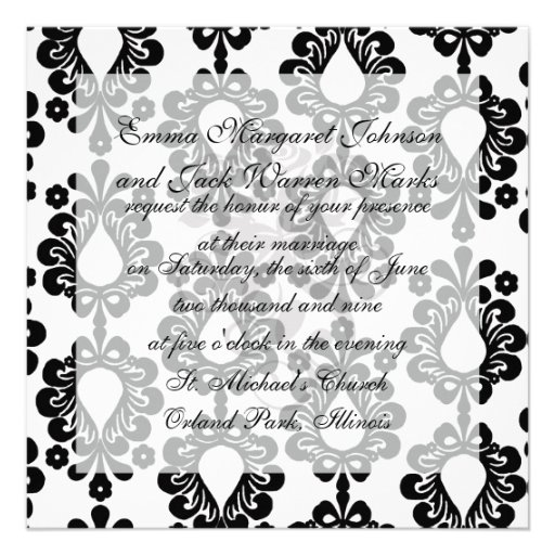 pequeño damasco blanco y negro de la lágrima de la invitación