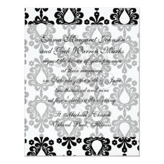 """pequeño damasco blanco y negro de la lágrima de la invitación 4.25"""" x 5.5"""""""