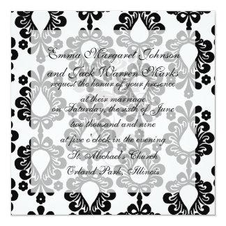 """pequeño damasco blanco y negro de la lágrima de la invitación 5.25"""" x 5.25"""""""