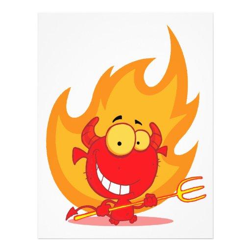 pequeño diablo lindo con el dibujo animado de las  tarjetas publicitarias
