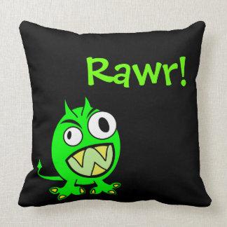 Pequeño diablo verde de Rawr Cojín