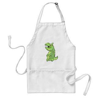 pequeño dibujo animado del dinosaurio verde delantal