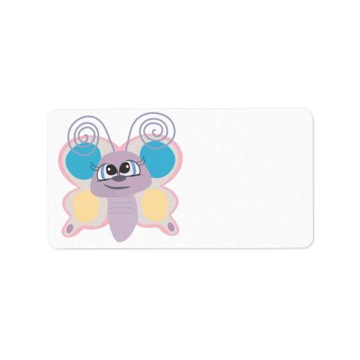 pequeño dibujo animado lindo de la mariposa del ve etiquetas de dirección