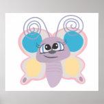 pequeño dibujo animado lindo de la mariposa del ve poster