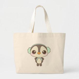pequeño dibujo animado lindo del pingüino del día  bolsas