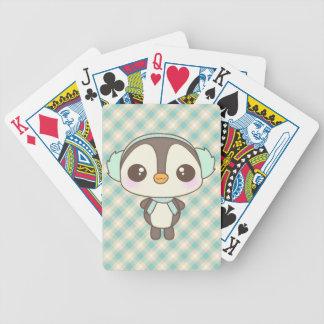 pequeño dibujo animado lindo del pingüino del día  cartas de juego