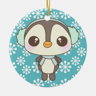 pequeño dibujo animado lindo del pingüino del día  ornamento para arbol de navidad