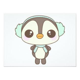 """pequeño dibujo animado lindo del pingüino del día invitación 5.5"""" x 7.5"""""""