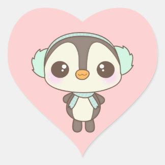 pequeño dibujo animado lindo del pingüino del día colcomanias de corazon