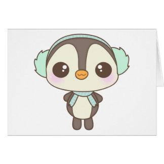 pequeño dibujo animado lindo del pingüino del día  felicitaciones