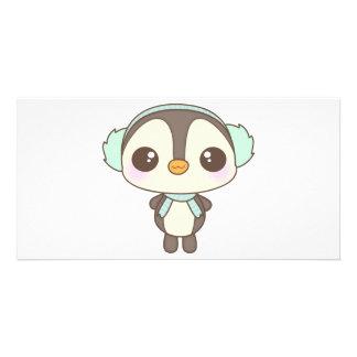 pequeño dibujo animado lindo del pingüino del día  tarjetas fotograficas personalizadas