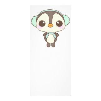 pequeño dibujo animado lindo del pingüino del día  tarjetas publicitarias