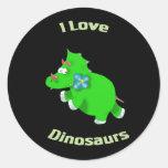 pequeño Dino verde (dinosaurios del loce de i) Etiquetas Redondas